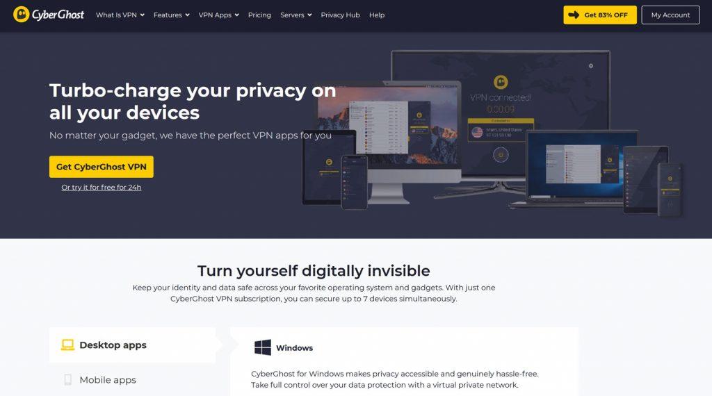Cyberghost verkkosivuston etusivu