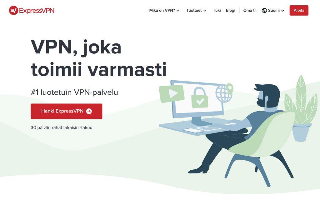 ExpressVPN verkkosivuston etusivu