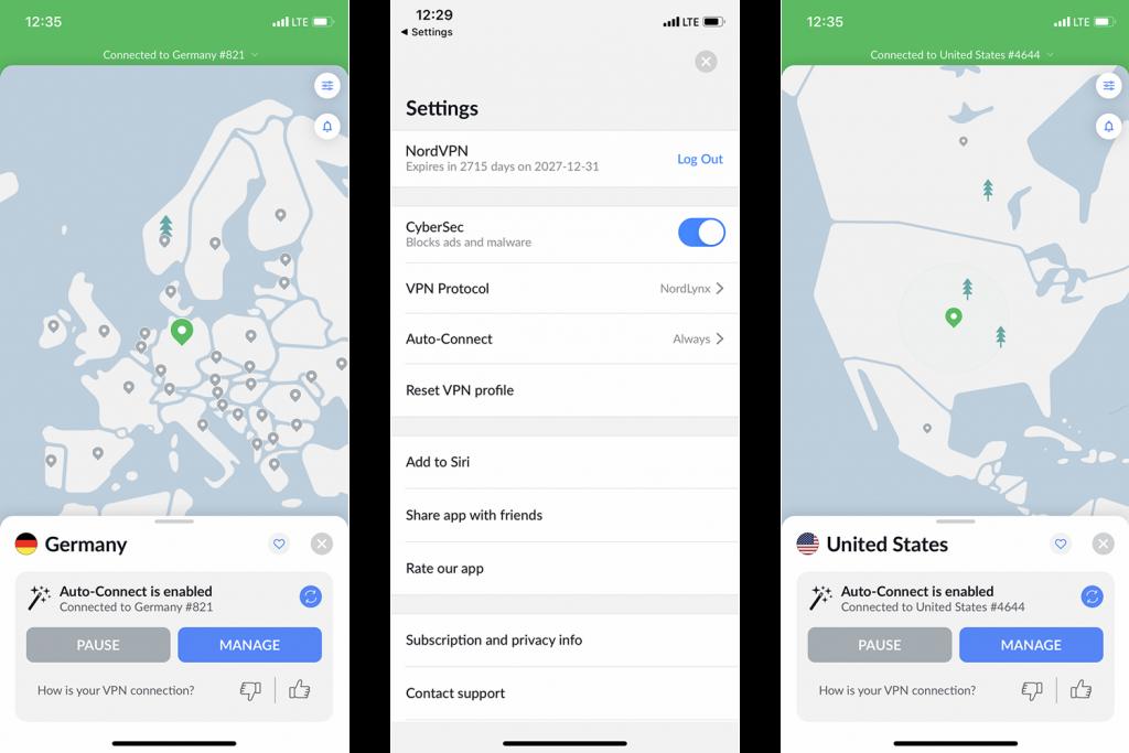 NordVPN iOS käyttöliittymä
