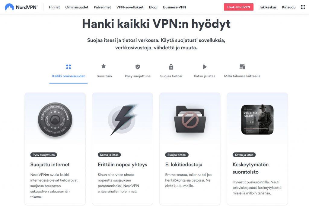 NordVPN verkkosivuston etusivu